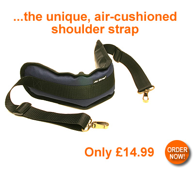 Airstrap - the unique, air-cushioned shoulder strap - only �14.99